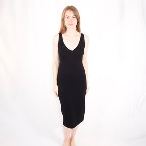 BABATON ARITZIA Ribbed Black Midi Dress 0909